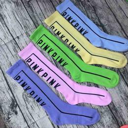 Wholesale Long Socks For Women - Women Girls Love Pink Letter Knee High Long Socks Sports Cheerleaders Cotton Socks Football Skateboard Stockings for Ladies