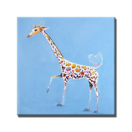 Wholesale Canvas Paints For Sale - Hand painted free shipping funny giraffe oil painting top quality cartoon animal wall pictures original art for sale