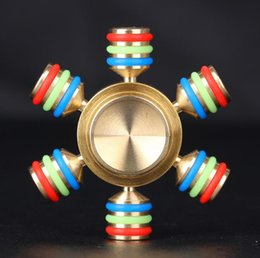 Wholesale Line Spinners - Fidget Spinner Decompression Toy Brass Metal Glow line Hand Spinners EDC Reduce Stress with retail package