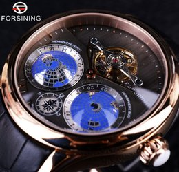 Wholesale Casual Earth Fashion - Forsining 2016 Earth Real Tourbillion Multi-dimensional Designer Mens Watches Top Brand Luxury Fashion Casual Automatic Watch