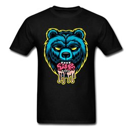 Wholesale Blue Brains - Personality Natural Cotton Youth Blue Bear Eat Brain T-Shirt Low Price Natural Cotton Young Clothing T-shirt Casual O-Neck