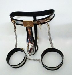 Wholesale Male Steel Chastity Belt Thigh - Adjustable Arc stainless steel mens chastity belt men cock cage ring+anal plug+catheter+Thigh Penis Rings male chastity device