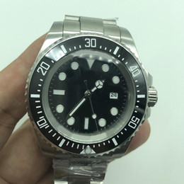 Wholesale Black Sapphire Bracelet - Mens luxury brand sea automatic watch ceramic bezel sapphire glass stainless steel bracelet watches AAA quality with crown on the glass