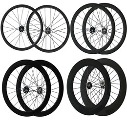 Wholesale Fix Gear Wheels - 700C Track bike Wheels 24mm 38mm 50mm 60mm 88mm Fix Gear Wheelset Clincher Tubular Fix Gear Wheels Carbon Bike Wheelset for Track Bike