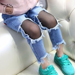 Wholesale Cheap Girls Fashion Clothing - New 2017 Autumn Denim lace Fashion Jeans Hole tassels Ripped Jeans kids Baggy Jeans Children Trousers baby pants Cheap Girls Clothes A971
