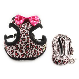 Wholesale Extra Large Dog Collars - armipet Fashion Leopard Pattern Dog Harness Cloth Chest Strap Dogs Collar Harness Lead 6044022 Pet Leash Supplies 5 Sizes