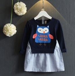 Wholesale Owl Shirts Girls - 2016 Girls Winter Undershirt Long Sleeve Bottoming Shirt With Animal Owl Printed Children Girls Multicolor Shirt With Stripes Shirt Q0449