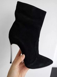 Wholesale Thin Pig - 2016 European Fashion woman short boots Super high heels Genuine leather pointed toe size zipper ladies martin boots