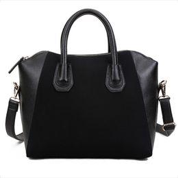 Wholesale Handbag Nubuck - New Arrive Fashion Bags 2016 Patchwork Nubuck Leather Women's Handbag Smiley Shoulder Bags Popular Panelled Women Messenger Bags