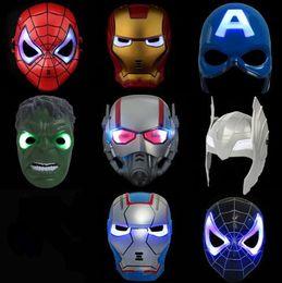Wholesale Glow Masks - LED Flash Mask Children Halloween Masks Glowing Lighting Mask Avengers Hulk Captain America Ironman Spiderman Party Mask CCA6772 100pcs