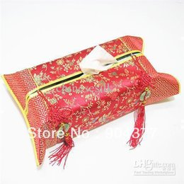 Wholesale Chinese Knot Jade - Wholesale- Ethnic Jade Chinese knot Tissue Boxes Vintage Patchwork Silk Brocade Fashion Removable Kleenex Cases Covers for Room Car