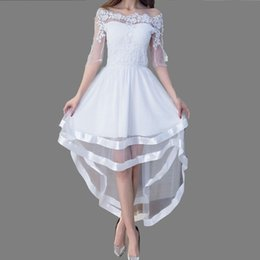 Wholesale Tuxedo Ladies White - 2017 Summer Fashion White Lace Off Shoulder Slash Neck Tuxedo Irregular Dress Ladies Party Club Black Patchwork Gauze Dresses