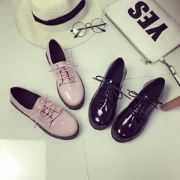 Wholesale British Pumps - Wholesale- New 2017 British Retro Patent Leather Oxford Shoes For Women Thick Bottom Muffins Platform Shoes Woman Black Pink Creppers Flats