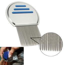 Wholesale Nits Lice - Terminator Lice Comb Nit Free Kids Hair Rid Headlice Superdensity Stainless Steel Metal Teeth Remove Nits Brush Blue