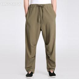 Wholesale Wushu Pants - Wholesale- Army Green Chinese Men's Kung Fu Pant Casual Loose Cotton Linen Trousers Wushu Clothing S M L XL XXL XXXL 2601