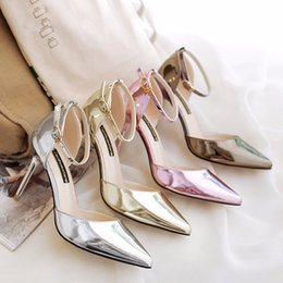 Wholesale Aa Side - 2017 women spring and summer sandals mirror with sandals buckle side of the thin hight heel shoes with solid color sandal