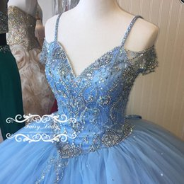 Wholesale Sweet 16 Royal Blue Dress - Cinderella Blue Off Shoulder Quinceanera Dresses With Sleeves Bling Crystal Major Beading 2017 Puffy Ball Gown Long Sweet 16 Pageant Party