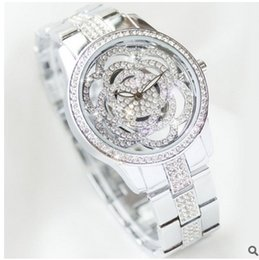 Wholesale Folding Water Glass - Arrival BS Brand Full Diomand Hollow carved Rose Flower Watch Women Luxury Austrian Crystals Watch Lady Rhinestone Bracelet