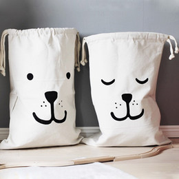 Wholesale Canvas Garage - New Large Storage Canvas Bags Laundry Bear Pattern Drawstring Laundry baby Nappies Toys Bag Wall Pocket FM0779