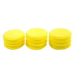 Wholesale wholesale buffing pads - Wholesale-12Pcs Yellow Polish Round Car Cleaning Wash Sponge Waxing Buffing Foam Sponge Pads For Clean Car Auto Durable Stretchy Soft