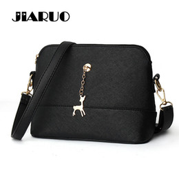 Wholesale Pink Shell Pendant - Wholesale- Luxury Fashion Design Leather Women Shoulder bag Small Crossbody Bag Messenger bags Handbags Deer pendant Ladies Office Shop bag