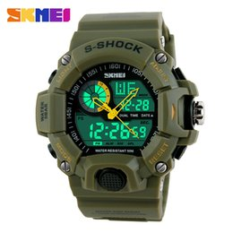 Wholesale Big Face Mens Sports Watches - 2017 SKMEI Watches Big Face Fashion Design Summer Outdoor Sports Waterproof LED Digital Mens Army Military Wristwatches Cool Classic Brands