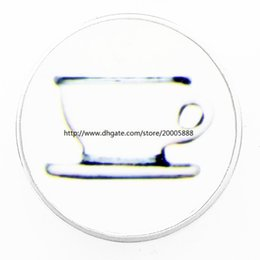 Wholesale cup chain settings wholesale - fashion White tea cups 18 mm glass print ginger snap button jewelry luxurious alloy bottom fit 18 mm snaps bracelets best gifts