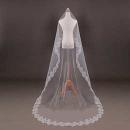 Wholesale Ivory Wedding Veils 5m - One Tier Cathedral Wedding Bridal Veils with Lace Edge Light White Ivory 1.5M 2M 3M 5M