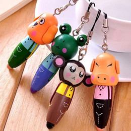 Wholesale Sign Writing - 1Pcs Cartoon Animal Wood BallPoint Pen for Kid Gift Mobile Phone Pendant Pen School Supplies Writing Pens Cute Prize Gifts Signing Pen
