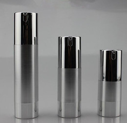 Wholesale 15ml Vacuum - 50pcs 15ML 30ML 50ml UV silver gold airless vacuum pump lotion bottle used for Cosmetic Container