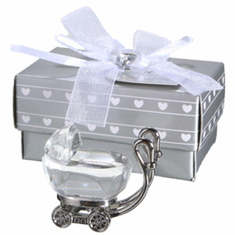 Wholesale Carriage Party Favors - ICrystal Baby Shower Souvenirs Favors Crystal Baby Carriage Figurine keepsake Baby Baptism Return Gifts 20pcs Wholesale