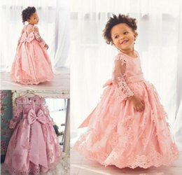 Wholesale Cheap Big Girl Wedding Dresses - 2017 Cheap Lovely Ball Gown Flower Girls' Dresses Jewel Neck Lace Illusion Sheer Cute Kids Princess Big Bowknot Floor Length Kids Wear