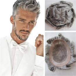 Wholesale Cheap Hair Toupees - 8A Top Grade Silver Gray Virgin Peruvian Wave Hair Toupee Cheap Men Hair Toupee Free Shipping