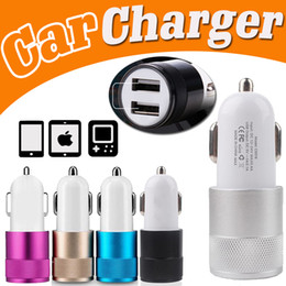 Wholesale Micro Amp - Metal Car Charger Travel Adapter 2 Ports Micro USB Car Plug 12 Volt   1 ~ 2 Amp USB Adapter For Iphone 8 7 Plus 6 5 Samsung Note 8 S8 Tablet