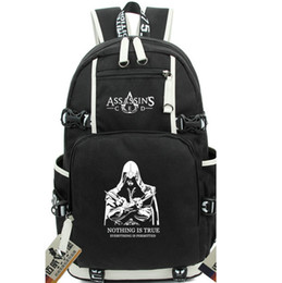Wholesale Canvas School Bag Pack - Assassins Creed backpack Night light school bag Global daypack World wide game schoolbag Outdoor rucksack Sport day pack
