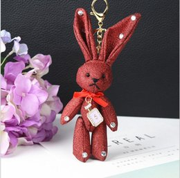 Wholesale Matte White Cars - 19cm Cute Fashion Keychains Alloy matte cloth Rabbit Hare Bunny Keychain Fluffy Key Chain Womens Bag Charms Car Pendant Keychain Gifts