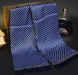 Wholesale Purple Neckerchief - New Vintage Silk Scarf Men Fashion paisley Flowers Pattern Print Double Layer Silk Satin Neckerchiefs #4040