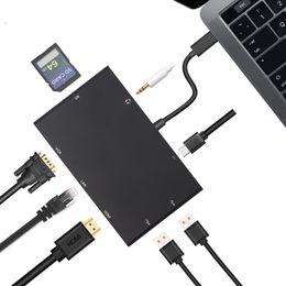 Wholesale Usb Hub Female Male - USB-C Thunderbolt 3 to HDMI 4K VGA 2xUSB 3.0 Hub Gigabit Ethnernet RJ45 USB-C PD Audio 3.5mm SD Slot Female Charger Adapter