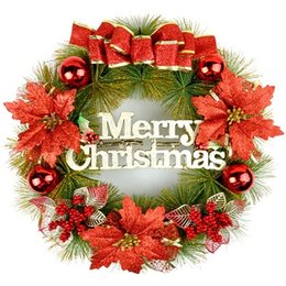 Wholesale Indoor Wreaths - Free shipping wholesale price 40cm door act Christmas Wreath red and gold colour for Christmas holiday decoration gifts