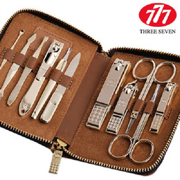 Wholesale Korea Nail - Wholesale- South Korea 777 THREE SEVEN Manicure Set Nail Clipper Nail Tools Best Gift for Friend and Family, Total 11 pcs, NTS-8306