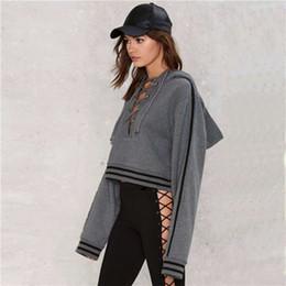 Wholesale Tee Waist - 2017 Women cropped hoodie streetwear loose short long sleeve midriff tall waist crop tops tees girls hoodies