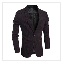 Wholesale Men Korean Red Blazer - Mens Suits Blazers Autumn&winter Fashion Korean Style Dot Mens Two Button Casual Simple Suits US SIZE:XS-L