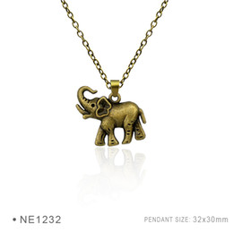 Wholesale Metal Baby Charms - Antique Silver Plated Tiny Elephant Mother And Baby Elephant Charm pendants Chain Birthday Gifts Women Platinum Metal Necklaces