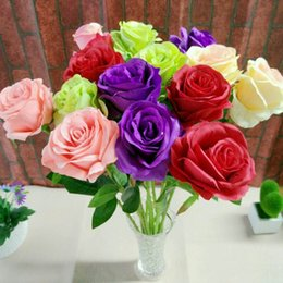 Wholesale Single Rose Decoration - Single Rose Artificial Flower 50CM Length Fake Flower Colourful Rose for Christmas Birthday Motherday Party Home Decoration 105 - 1015