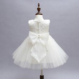 Wholesale Newborn Christening Gowns - Wholesale- Vintage Baby Girl Lace Christening Gown 2017 Newborn Baby Girls First Birthday Gift Big Bow Little Princess Tulle Tutu Dress