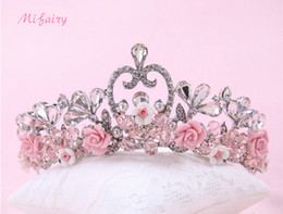 Wholesale Wedding Hair Jewelry Blue - Pink Blue White Tulle Flowers Small Wedding Crowns Tiaras Chic Pearls Bridal Headpieces Bridesmaid Hairpieces H48