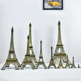 Wholesale Statue Home Decor - Creative Gifts 13cm Metal Art Crafts Paris Eiffel Tower Model Figurine Zinc Alloy Statue Travel Souvenirs Home Decor