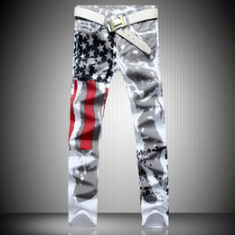 Wholesale Stylish Capris - Wholesale-Stylish Men's Slim-fit Jeans Casual Straight Pants USA American Flag Jeans Men Hip-hop Striped Graffiti Print Skinny Trousers