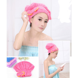 Wholesale Shower Head Cap - Wholesale-2pcs Hair Turban Strong Water Absorption Hair Dry Shower Female Bath Caps Hats Microfiber Quick Dry Hair Towel