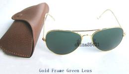 2019 gafas de moda para adultos 1 Unids Diseñador Clásico gafas de Sol Para Hombre Para Mujer Gafas de Sol Gafas Marco de Oro Verde Lente de Cristal 58mm 62mm Ven con Caja y Caja